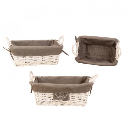 Set de 3 cosulete de paine, din rachita/textil, inaltime 15.5cm x 27.5-41cm culoare gri [0]