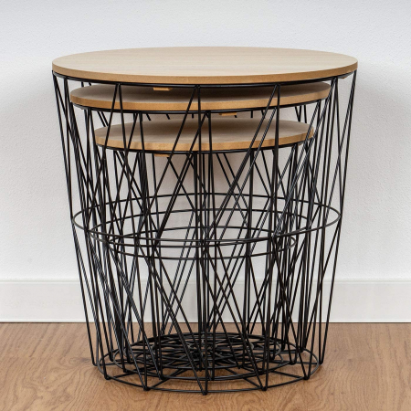 Set de trei mese, structura din metal Negru, cu blat din lemn Maro, diametru 30 si 40 cm [3]