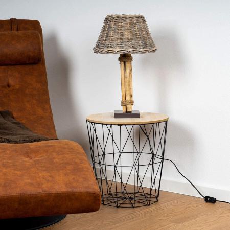Set de trei mese, structura din metal Negru, cu blat din lemn Maro, diametru 30 si 40 cm [4]