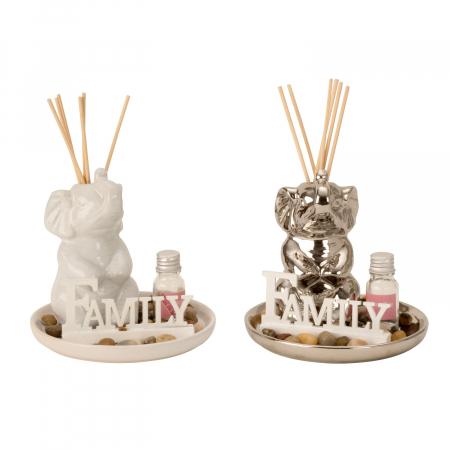 Set odorizant de camera, cu figurina Elefant Alb, din ceramica, parfum si betisoare, 14cm x 14cm [1]