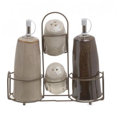 Set Oliviera 4 piese, din portelan, suport metalic, Bej si Maro, 20X7X20 cm [0]