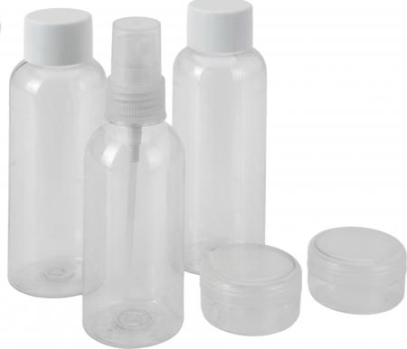 Set pentru calatorie, 5 piese, 3 recipiente 12x3.7cm si 2 cutii 3.6x2.2cm, de voiaj, Plastic, Alb/Transparent [3]