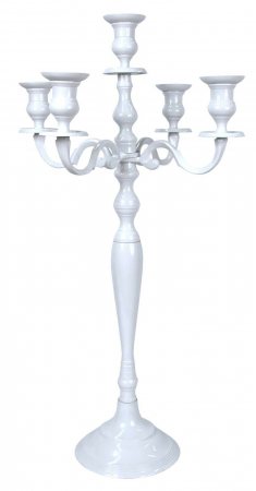 Sfesnic Mare, metalic, cu 5 brate, culoare Alb, 81 cm5