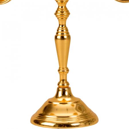 Sfesnic Mic Auriu, cu trei brate, din metal, placat cu Aur, 31 cm5