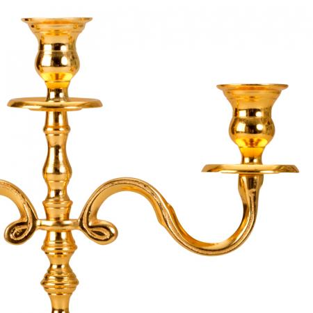 Sfesnic Mic Auriu, cu trei brate, din metal, placat cu Aur, 31 cm3