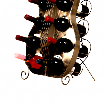 Suport de Sticle Vin, model Contrabas, din metal Negru lucios, capacitate 10 Sticle de 0,75 ml, H 101 cm3