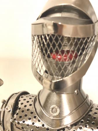 Suport din Metal lucios pentru Sticla de Vin, model Cavaler in Armura, Capacitate 1 Sticla, Crom Lucios, H 61 cm [5]