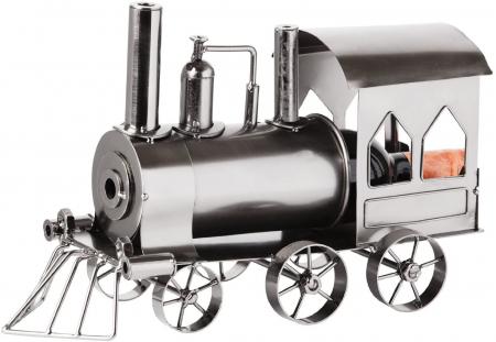 Suport din Metal lucios pentru Sticla de Vin, model Locomotiva cu Aburi, Capacitate 1 Sticla, Argintiu/Negru, H 23 cm L 37.5cm [1]