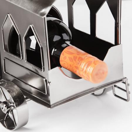 Suport din Metal lucios pentru Sticla de Vin, model Locomotiva cu Aburi, Capacitate 1 Sticla, Argintiu/Negru, H 23 cm L 37.5cm [2]