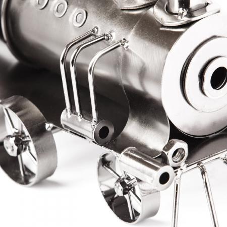 Suport din Metal lucios pentru Sticla de Vin, model Locomotiva cu Aburi, Capacitate 1 Sticla, Argintiu/Negru, H 23 cm L 37.5cm [5]