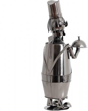 Suport din Metal lucios pentru Sticla de Vin, model Ospatar, aspect Vintage Capacitate 1 Sticla, H 41 cm3