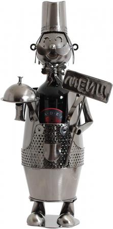 Suport din Metal lucios pentru Sticla de Vin, model Ospatar, aspect Vintage Capacitate 1 Sticla, H 41 cm2