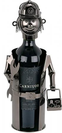 Suport din Metal lucios pentru Sticla de Vin, tip Instalator, Argintiu/Negru, capacitate 1 Sticla, H 34 cm0