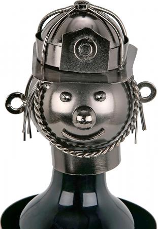 Suport din Metal lucios pentru Sticla de Vin, tip Instalator, Argintiu/Negru, capacitate 1 Sticla, H 34 cm5