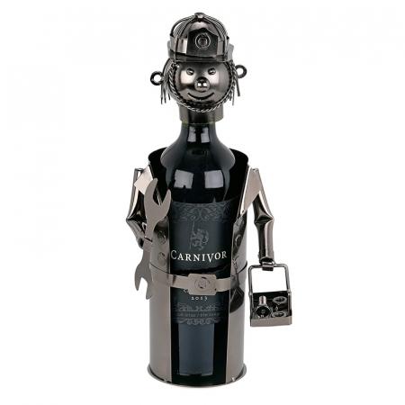 Suport din Metal lucios pentru Sticla de Vin, tip Instalator, Argintiu/Negru, capacitate 1 Sticla, H 34 cm1