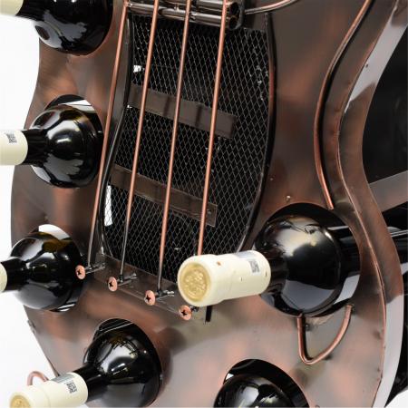 Suport din metal pentru 6 sticle de vin, forma chitara, dimensiune 107 cm [6]