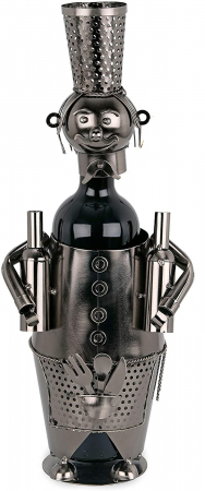 Suport din Metal pentru Sticla de Vin, model Barman, Capacitate 1 Sticla, Negru/Argintiu, H 38 cm0