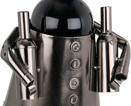 Suport din Metal pentru Sticla de Vin, model Barman, Capacitate 1 Sticla, Negru/Argintiu, H 38 cm4