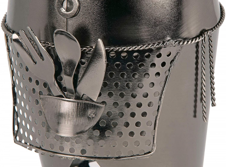 Suport din Metal pentru Sticla de Vin, model Barman, Capacitate 1 Sticla, Negru/Argintiu, H 38 cm6