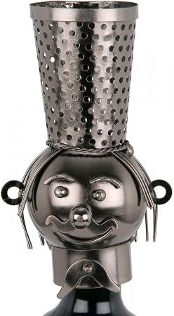 Suport din Metal pentru Sticla de Vin, model Barman, Capacitate 1 Sticla, Negru/Argintiu, H 38 cm5