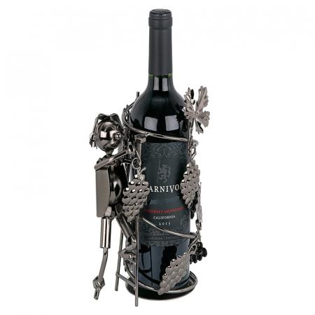 Suport din Metal pentru Sticla de Vin, model Culegator Struguri, Capacitate 1 Sticla, Negru/Argintiu, H 21 cm [1]