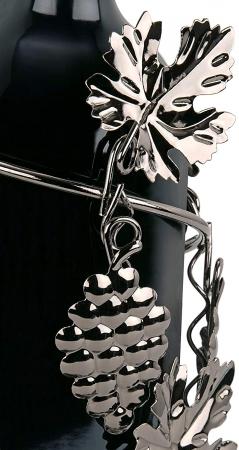 Suport din Metal pentru Sticla de Vin, model Culegator Struguri, Capacitate 1 Sticla, Negru/Argintiu, H 21 cm [4]