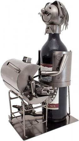 Suport din Metal pentru Sticla de Vin, model Grataragiu, Argintiu/Negru, capacitate 1 Sticla, H 34 cm0