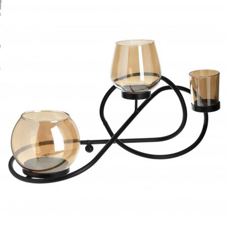 Suport din metal si sticla culoare neagra si aurie pentru 3 lumanari 40Χ17Χ20 cm [0]