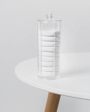 Suport din Plexiglas pentru dischete demacheante, NAGO, tampoane de bumbac, 20 cm x 7 cm, Transparent [6]