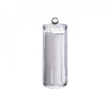 Suport din Plexiglas pentru dischete demacheante, NAGO, tampoane de bumbac, 20 cm x 7 cm, Transparent2