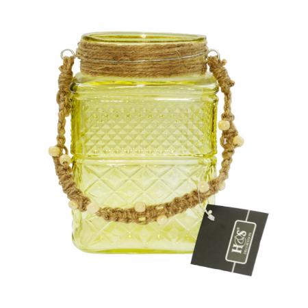 Suport din sticla pentru lumanari galben0