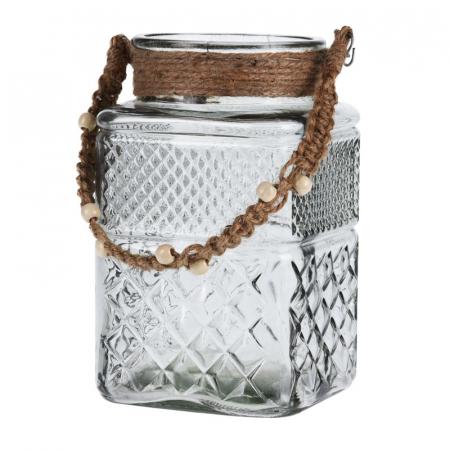 Suport din sticla pentru lumanari, Alb Transparent0