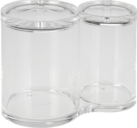 Recipient cu 2 compartimente, pentru dischete demachiante, NAGO, articolele de baie, Acril, D 6cm si 8.5cm, H11cm, Transparent0