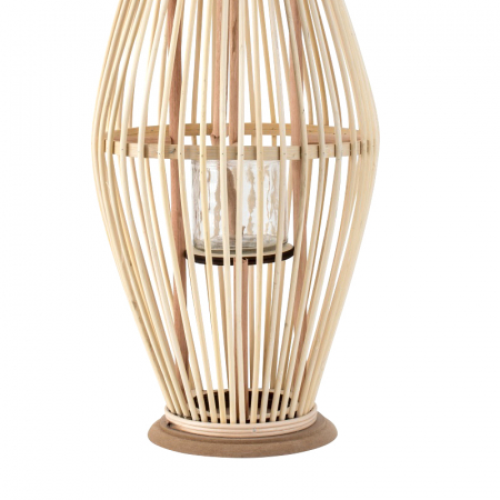 Suport Lumanare, cu maner si cilindru de sticla, Bambus si Metal, Natur, 50 cm [3]