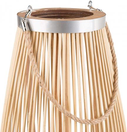 Suport Lumanare, cu maner si cilindru de sticla, Bambus si Metal, Natur, 50 cm [4]