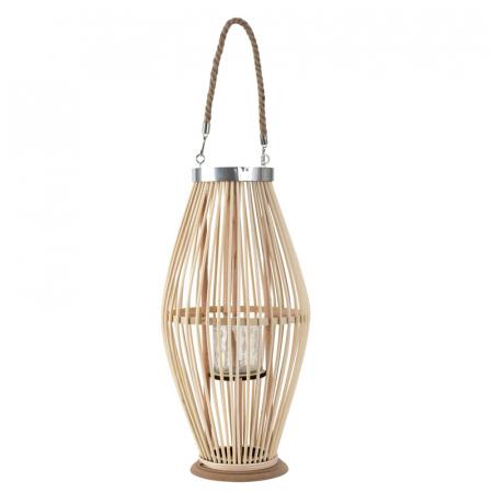 Suport Lumanare, cu maner si cilindru de sticla, Bambus si Metal, Natur, 50 cm [5]