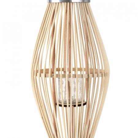 Suport Lumanare, cu maner si cilindru de sticla, Bambus si Metal, Natur, 50 cm [2]