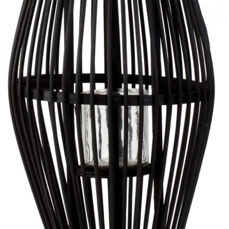 Suport Lumanare, cu maner si cilindru de sticla, bambus si metal, Negru, 50 cm4