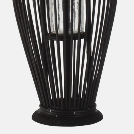 Suport Lumanare, cu maner si cilindru de sticla, bambus si metal, Negru, 50 cm5