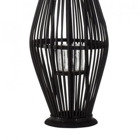 Suport Lumanare, cu maner si cilindru de sticla, bambus si metal, Negru, 50 cm6