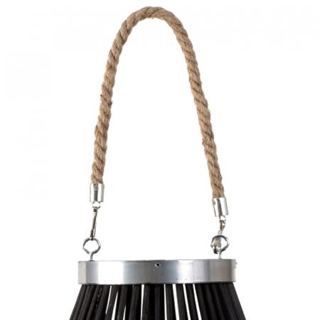 Suport Lumanare, cu maner si cilindru de sticla, bambus si metal, Negru, 50 cm2