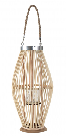Suport Lumanare, cu maner si cilindru de sticla, Bambus si Metal, Natur, 50 cm [0]