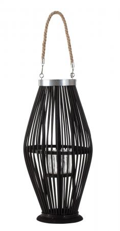 Suport Lumanare, cu maner si cilindru de sticla, bambus si metal, Negru, 50 cm3