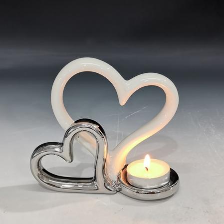 Suport lumanare, din ceramica, cu doua inimi, 11.5x13 cm1