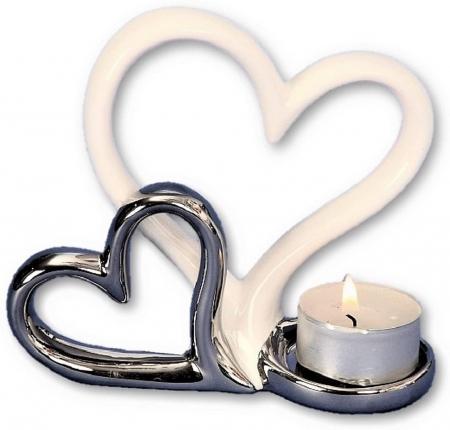 Suport lumanare, din metal, cu doua inimi, 11.5x13 cm0