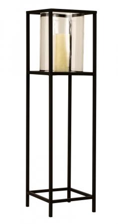 Suport Lumanare din Metal si Sticla, Negru, 90cm x 23.5x23.5cm [1]