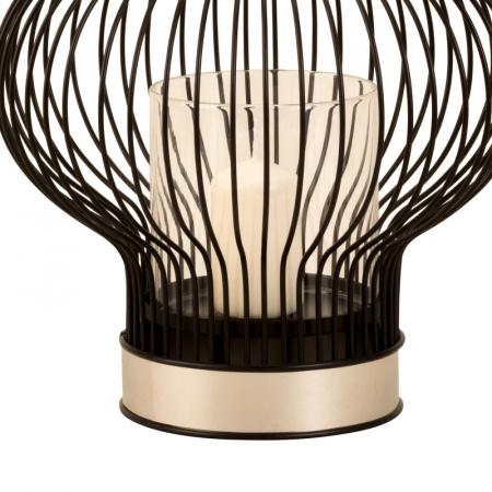 Suport lumanare, din metal si sticla, Negru, 24 cm4