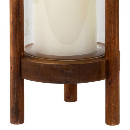 Suport Lumanare din Sticla si Lemn, Maro, 22.5 cm3