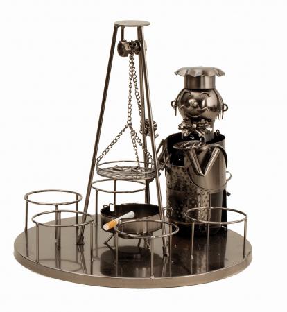 Suport metal 6 sticle pe tava cu scrumiera, diametru 30 cm [0]