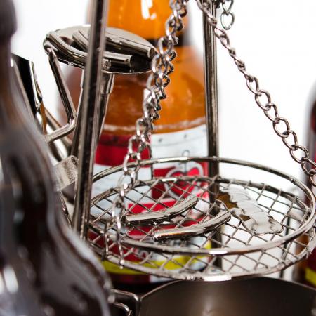 Suport metal 6 sticle pe tava cu scrumiera, diametru 30 cm [3]